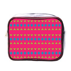 Hearts And Rhombus Pattern mini Toiletries Bag (one Side) by LalyLauraFLM