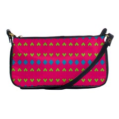 Hearts And Rhombus Pattern shoulder Clutch Bag by LalyLauraFLM