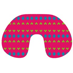 Hearts And Rhombus Pattern Travel Neck Pillow by LalyLauraFLM