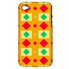Green Red Yellow Rhombus Pattern			apple Iphone 4/4s Hardshell Case (pc+silicone) by LalyLauraFLM