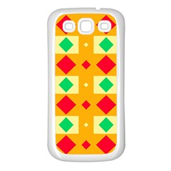 Green Red Yellow Rhombus Pattern			samsung Galaxy S3 Back Case (white) by LalyLauraFLM