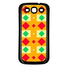 Green Red Yellow Rhombus Patternsamsung Galaxy S3 Back Case (black) by LalyLauraFLM