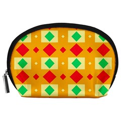 Green Red Yellow Rhombus Pattern Accessory Pouch