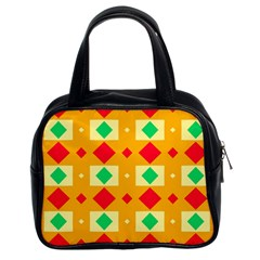 Green Red Yellow Rhombus Pattern Classic Handbag (two Sides) by LalyLauraFLM
