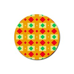 Green Red Yellow Rhombus Pattern rubber Coaster (round) by LalyLauraFLM