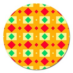 Green Red Yellow Rhombus Pattern 			magnet 5  (round) by LalyLauraFLM