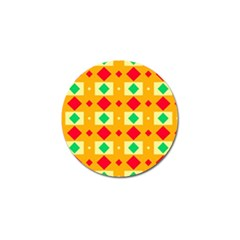 Green Red Yellow Rhombus Pattern 			golf Ball Marker by LalyLauraFLM