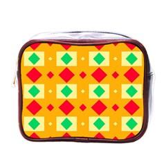 Green Red Yellow Rhombus Pattern mini Toiletries Bag (one Side) by LalyLauraFLM