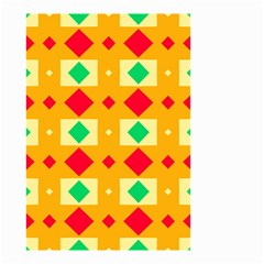 Green Red Yellow Rhombus Pattern Small Garden Flag by LalyLauraFLM