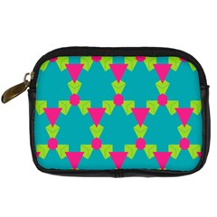 Triangles Honeycombs And Other Shapes Pattern digital Camera Leather Case by LalyLauraFLM
