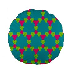 Triangles Honeycombs And Other Shapes Pattern standard 15  Premium Flano Round Cushion by LalyLauraFLM