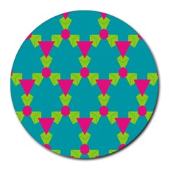 Triangles Honeycombs And Other Shapes Pattern 			round Mousepad by LalyLauraFLM