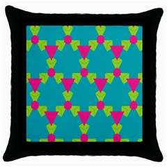 Triangles Honeycombs And Other Shapes Pattern 			throw Pillow Case (black) by LalyLauraFLM