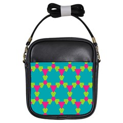 Triangles Honeycombs And Other Shapes Pattern girls Sling Bag by LalyLauraFLM