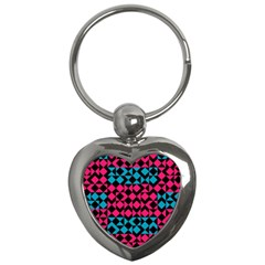 Rhombus And Triangles			key Chain (heart) by LalyLauraFLM