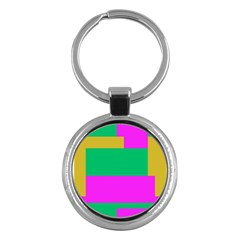 Rectangles And Other Shapes 			key Chain (round) by LalyLauraFLM