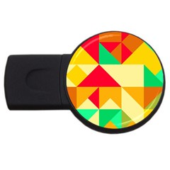 Retro Colors Shapes usb Flash Drive Round (2 Gb) by LalyLauraFLM