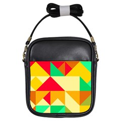 Retro Colors Shapes 			girls Sling Bag by LalyLauraFLM