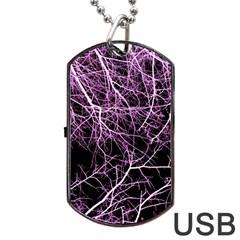Purple Twigs Dog Tag Usb Flash (two Sides)  by timelessartoncanvas