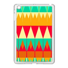Triangles And Other Retro Colors Shapes 			apple Ipad Mini Case (white) by LalyLauraFLM