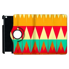 Triangles And Other Retro Colors Shapes 			apple Ipad 3/4 Flip 360 Case by LalyLauraFLM
