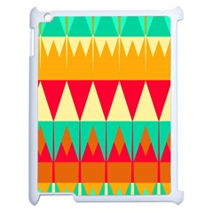 Triangles And Other Retro Colors Shapes 			apple Ipad 2 Case (white) by LalyLauraFLM