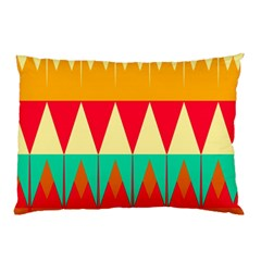 Triangles And Other Retro Colors Shapes 			pillow Case by LalyLauraFLM