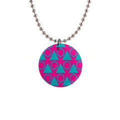 Triangles And Honeycombs Pattern 			1  Button Necklace by LalyLauraFLM