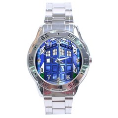 Pane Glass Tardis Stainless Steel Watch (men s) by Deathblo