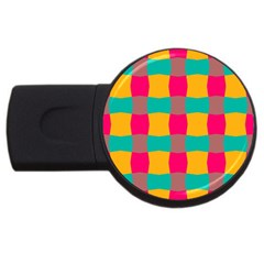 Distorted Shapes In Retro Colors Pattern 			usb Flash Drive Round (2 Gb) by LalyLauraFLM