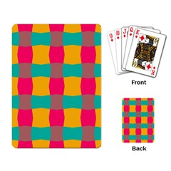 Distorted Shapes In Retro Colors Pattern playing Cards Single Design by LalyLauraFLM