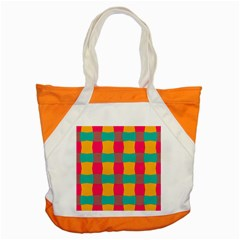 Distorted Shapes In Retro Colors Pattern accent Tote Bag by LalyLauraFLM