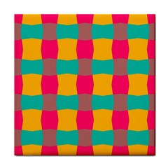 Distorted Shapes In Retro Colors Pattern 			face Towel by LalyLauraFLM