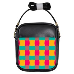 Distorted Shapes In Retro Colors Pattern 			girls Sling Bag by LalyLauraFLM