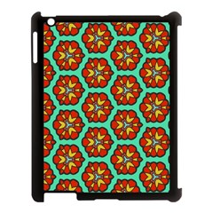 Red Flowers Pattern 			apple Ipad 3/4 Case (black) by LalyLauraFLM