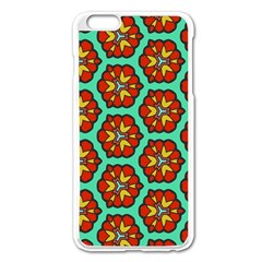 Red Flowers Pattern apple Iphone 6 Plus/6s Plus Enamel White Case by LalyLauraFLM