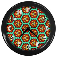 Red Flowers Pattern 			wall Clock (black) by LalyLauraFLM