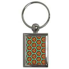 Red Flowers Pattern key Chain (rectangle) by LalyLauraFLM