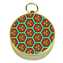 Red Flowers Pattern 			gold Compass by LalyLauraFLM