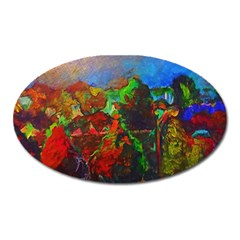 Chicago Park Painting Oval Magnet by bloomingvinedesign