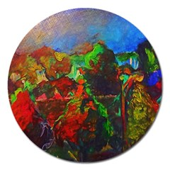 Chicago Park Painting Magnet 5  (round) by bloomingvinedesign