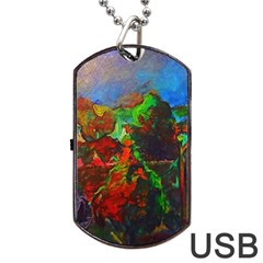 Chicago Park Painting Dog Tag Usb Flash (two Sides)  by bloomingvinedesign