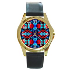 Red Black Blue Art Pattern Abstract Round Gold Metal Watches