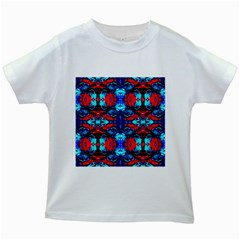 Red Black Blue Art Pattern Abstract Kids White T Shirts
