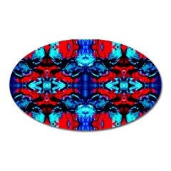 Red Black Blue Art Pattern Abstract Oval Magnet by Costasonlineshop