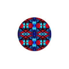 Red Black Blue Art Pattern Abstract Golf Ball Marker (4 Pack) by Costasonlineshop