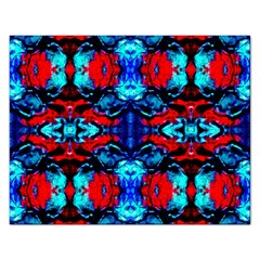 Red Black Blue Art Pattern Abstract Rectangular Jigsaw Puzzl by Costasonlineshop