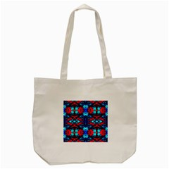 Red Black Blue Art Pattern Abstract Tote Bag (cream)  by Costasonlineshop