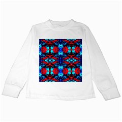 Red Black Blue Art Pattern Abstract Kids Long Sleeve T Shirts by Costasonlineshop