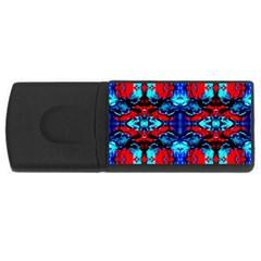 Red Black Blue Art Pattern Abstract Usb Flash Drive Rectangular (4 Gb)  by Costasonlineshop
